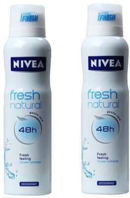 Nivea Fresh Deodorant Spray  -  For Men & Women(300 ml, Pack of 2)