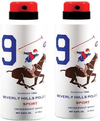 Beverly Hills Polo Club Combo Deodorants No.9X9 Body Spray  -  For Men(350 ml, Pack of 2)  available at flipkart for Rs.380