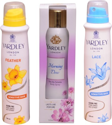 Yardley London FEATHER::MORNING DEW::LACE Perfume Body Spray  -  For Women(420 ml, Pack of 3)