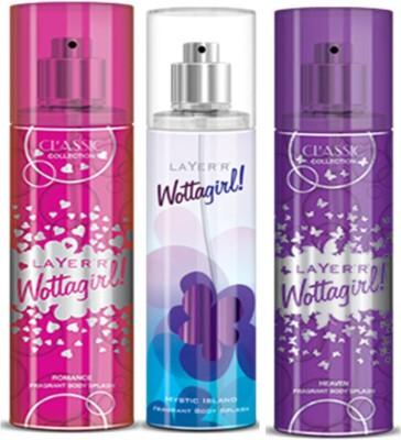 Layer'r Layer'r Wottagirl Romance, Mystic Island, Heaven Body Spray(Set of3) 135 ml Each Body Spray  -  For Women(135 ml, Pack of 3)  available at flipkart for Rs.599