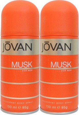 Jovan Musk Deodorant Spray (Pack of 2) Body Mist  -  For Men(300 ml, Pack of 2)  available at flipkart for Rs.380