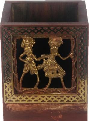 JaipurCrafts Dokra 1 Compartments Wood, Brass Pen Holder(Brown, Gold)