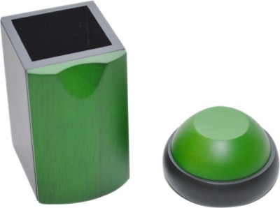 Knott 1 Compartments wooden Pen holder & Paper Weight combo(Green)