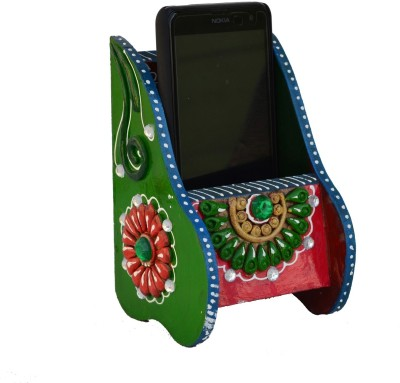 eCraftIndia ESR008 1 Compartments Papier-Mache Mobile Holder(Green, Pink) at flipkart