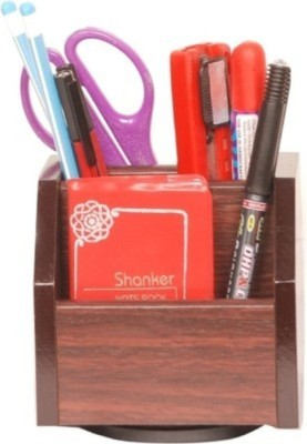 Onlineshoppee CAC 3 Compartments Wooden Pen Holder(Brown)