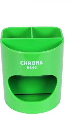 Chrome 4 Compartments Plastic Pen Stand(Green)