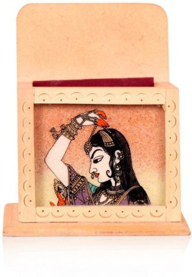 Rajwada Arts Rajasthani 1 Compartments Wooden Visiting Card Holder and Mobile Stand(Multicolor)