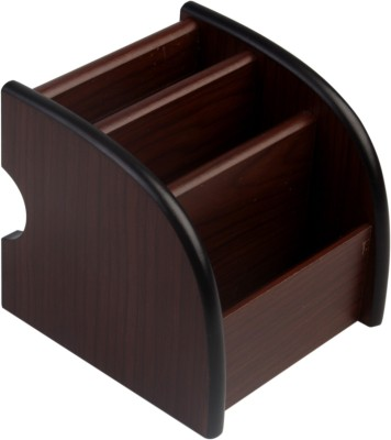 7Trees 3 Compartments Wooden Pen Stand(Brown)