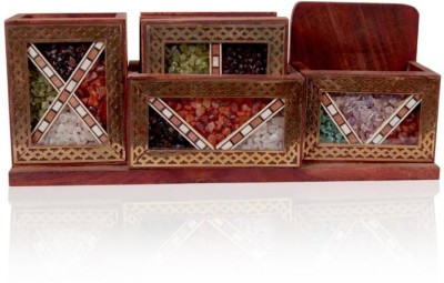 SR Crafts 2 Compartments Wooden and Fiber Pen and Visiting Card Holder(Multicolor)