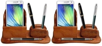 Onlineshoppee CAC 3 Compartments Wooden Mobile holder(Brown)