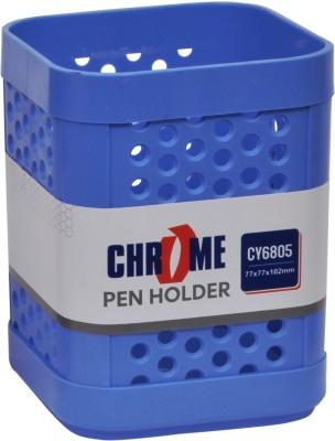 Chrome Multipurpose 1 Compartments Plastic Pen Stand(Blue)