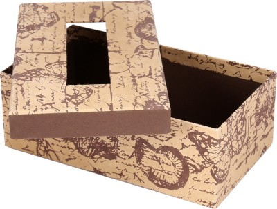 Rajrang 1 Compartments Handmade Paper   Cardboard Tissue Paper Box Beige