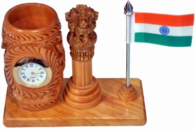 Craft Trade 1 Compartments White Wood, Stainless steel Pen Stand Pawati with National Flag, Ashok Pillar and Analog Watch(4 in 1)(Light Brown)