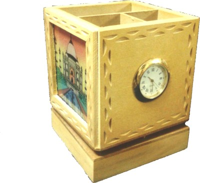 Gaura Art & Crafts 3 Compartments Wooden, Glass Watch With Pen Holder(Multicolor)