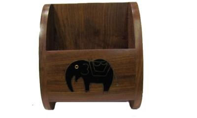 SC Handicrafts Wooden Holder 1 Compartments Wooden, Brass Mobile Holder(Brown)
