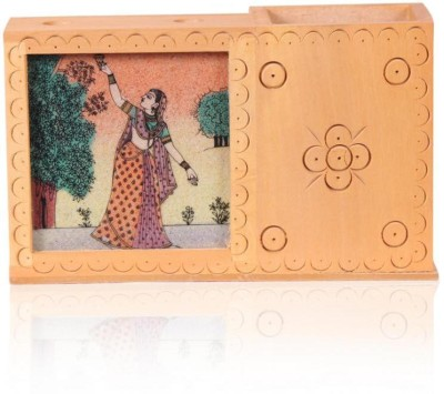 Rajwada Arts Rajasthani 3 Compartments Wooden Office Stationary Holder(Multicolor)
