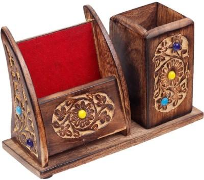 saaheli 10 Compartments Wooden Desk Organizer(Brown)