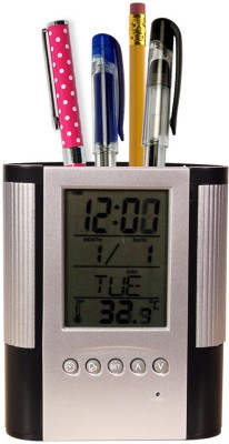 Trioflextech 1 Compartments Plastic Clock and Pen Holder(Multicolor)  available at flipkart for Rs.399
