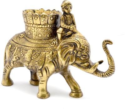 Handecor 1 Compartments Brass Elephant Savari Pen Stand(Antique Brown)