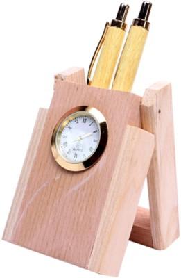 JM Classic 2 Compartments Wooden Pen Stand(Bisque)