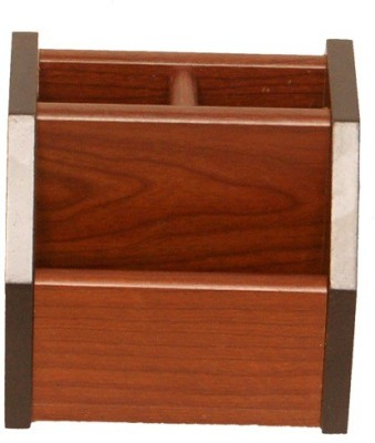 FABULO 3 Compartments WOODEN fabulo stationary holder(Brown)