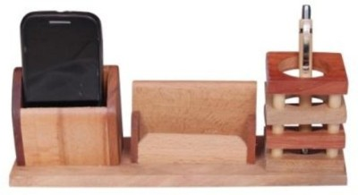 Onlineshoppee CAC 3 Compartments Wooden Mobile Stand(Brown)