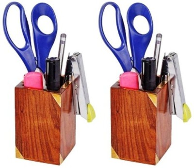 Onlineshoppee 2 Compartments wood Pen Holder(Brown)