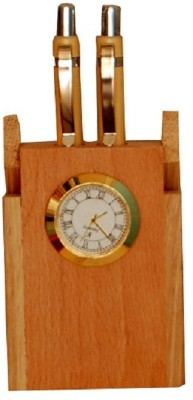 PRINCE TRADERS 2 Compartments WOOD BRASS PEN HOLDER AND CLOCK(CREAMY WOOD)  available at flipkart for Rs.379