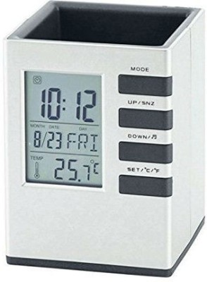 Shrih 1 Compartments Plastic Clock With Back Light Cube Pen Holder(White)  available at flipkart for Rs.399
