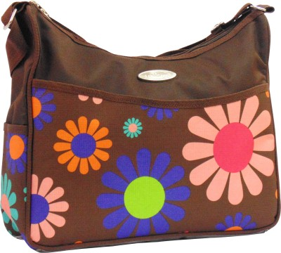 1st Step Flower Print Messenger Diaper Bag Brown 1st Step Diaper Bags