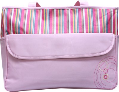 Kiwi Pink Multi Colour Stripes Diaper Bag Multicolor