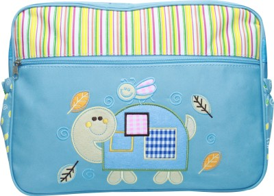 Kiwi Blue Bee and Tortoise Embroidery Diaper Bag Multicolor