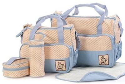 Sanghvi Enterprises Baby Bucket 5pcs/set Baby Diaper Bag Nappy Mummy Bag Print Maternity Handbag Changing Baby Messenger Bag Diaper Bag Light Blue San