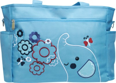 Kiwi Elephant Embroidery with Flowers Diaper Bag Multicolor