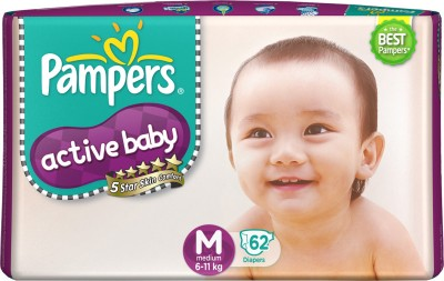 Pampers Active Baby Diapers, M 62 Pieces