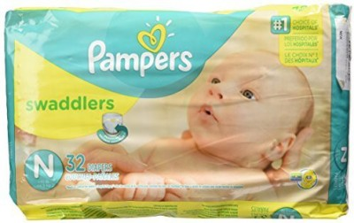 Pampers Swaddlers Baby Diapers, New Born 32 Pieces