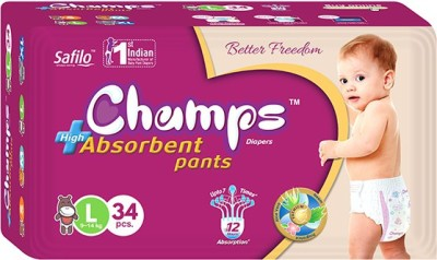 Champs High Absorbent Pants   L 34 Pieces Champs Baby Diapers