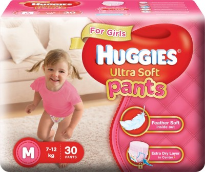 Huggies Ultra Soft For Girls Baby Pants M Diapers (30 Pieces)