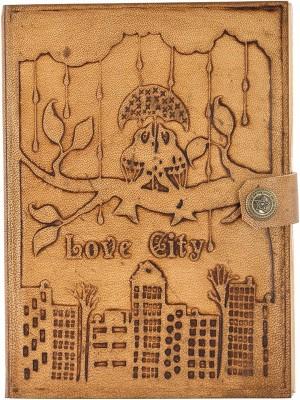 Hare Krishna handicrafts Regular Diary Love city handmade paper leather diary with closer, 7x5 inch, Tan