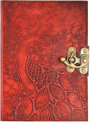 Hare Krishna Handicrafts Regular Diary Peacock leather cover handmade diary notebook with lock, 7x5 inch, red brown