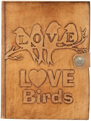 Hare Krishna Handicrafts Regular Diary Love Birds handmade paper leather diary notebook with closer, 7x5 inch, Tan