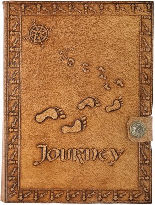 Hare Krishna Handicrafts Regular Diary Journey Compass foot print leather cover handmade diary notebook with closer, 7x5 inch, Tan