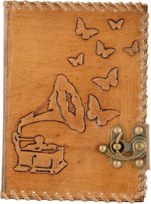 Hare krishna Handicrafts Regular Diary Gramophone butterfly handmade paper leather diary notebook with lock   leather stitching , 7x5 inch, Tan