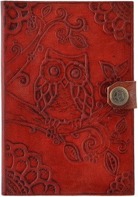 Hare Krishna Handicrafts A6 Diary Owl leather handmade diary with lock, 6x4 inch, Red brown