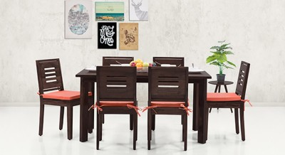 Urban Ladder Capra (With Removable Cushions) Solid Wood Dining Chair(Set of 2, Finish Color - Mahogany)