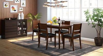 Urban Ladder Cabalo Leatherette Engineered Wood Dining Chair(Set of 2, Finish Color - Dark Walnut)