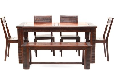 Tezerac Solid Wood 6 Seater Dining Set(Finish Color - Brown)
