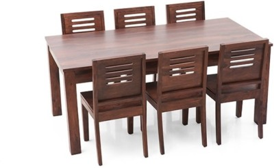 Home Edge Solid Wood 6 Seater Dining Set(Finish Color - Brown Polish)