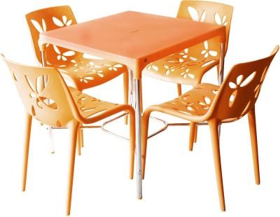 Cello Plastic 4 Seater Dining Set(Finish Color - Orange)
