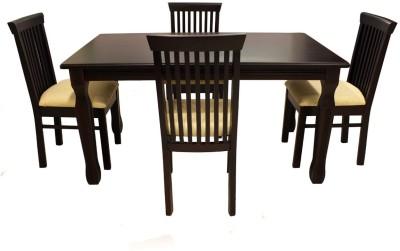 Wood Pecker Brisbane Solid Wood 4 Seater Dining Set(Finish Color - Dark Walnut)